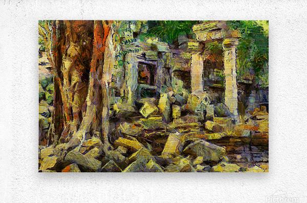 CAMBODIA Angkor Wat oil painting in Vincent van Gogh style. 148  Metal print