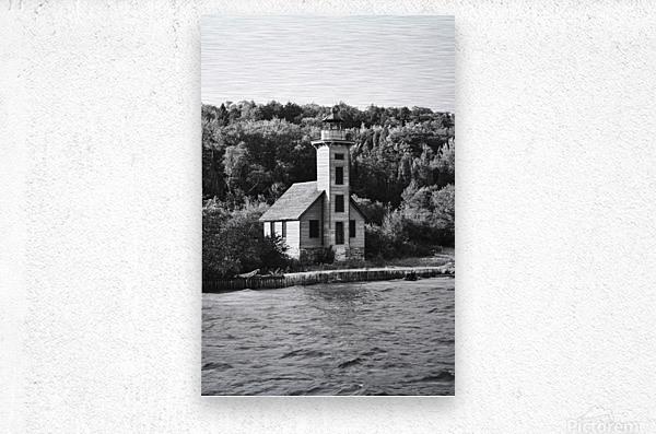 Grand Island Light house BW  Metal print