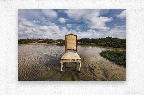 Chair in a pool of water - color version  Metal print