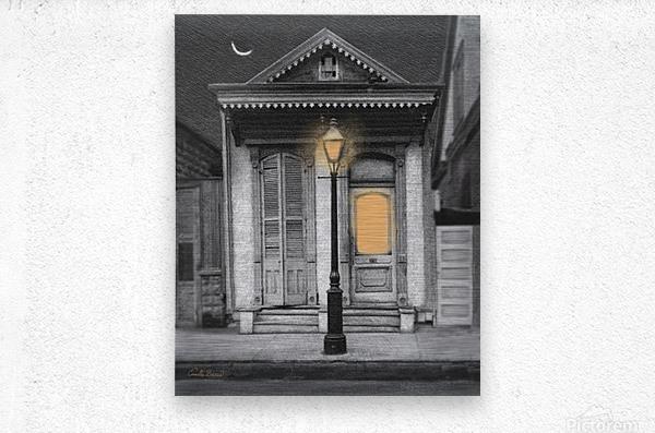 French Quarter Lamp Light  Metal print