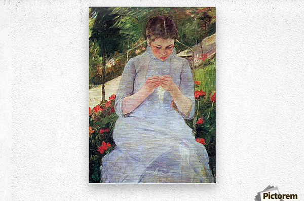 Young woman sewing in the garden by Cassatt  Metal print