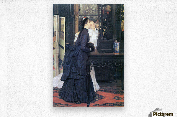 Young women with Japanese goods by Tissot  Metal print