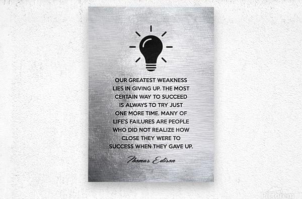 Thomas Edison Motivational Wall Art  Metal print