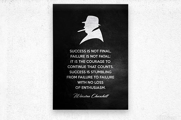 Winston Churchill Motivational Wall Art  Metal print