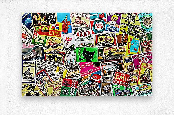 Matchbox Label Collage  Metal print
