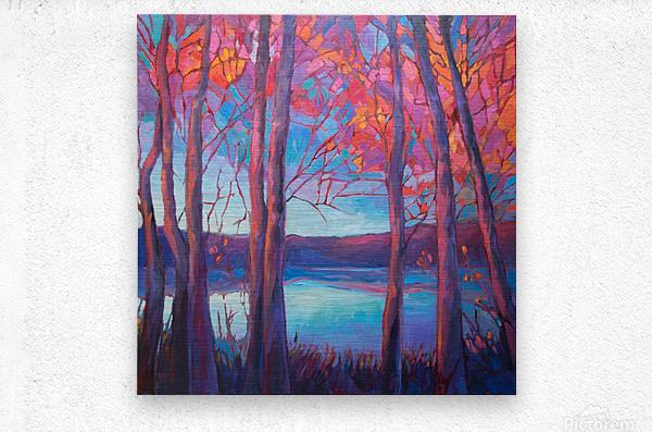 Autumn at the Lake  Metal print