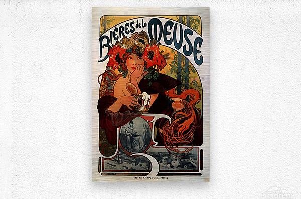 Bieres de la Meuse by Alphonse Mucha  Metal print