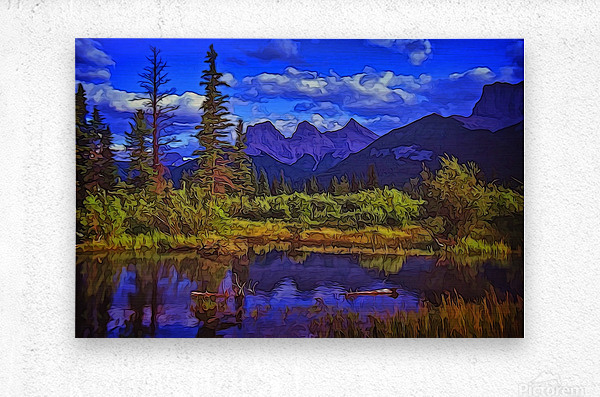Three Sisters Peaks  Metal print