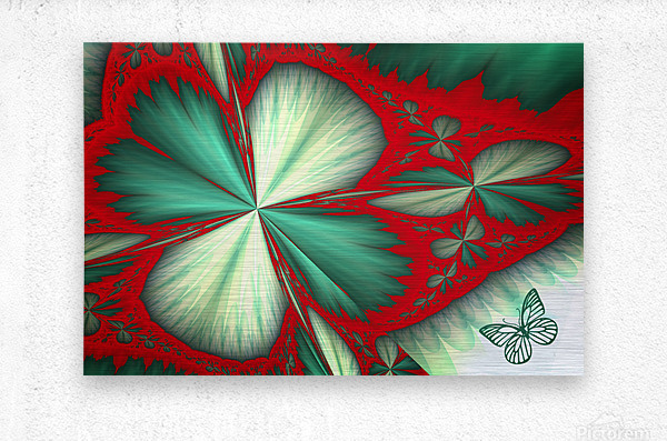 Shamrock and Butterfly  Metal print