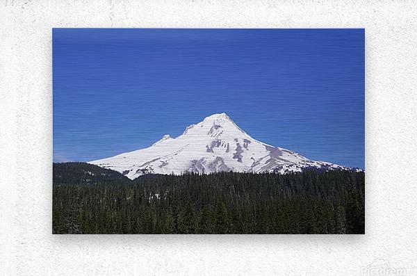 Blue Skies over Mount Hood  Metal print