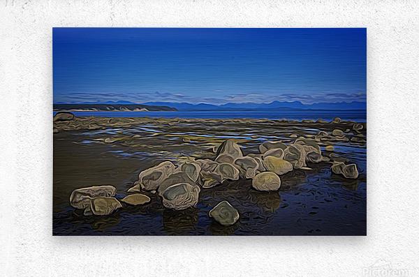 Boulders at Low Tide  Metal print