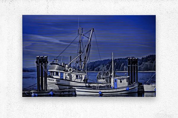Fishing Boats at the Dock  Metal print