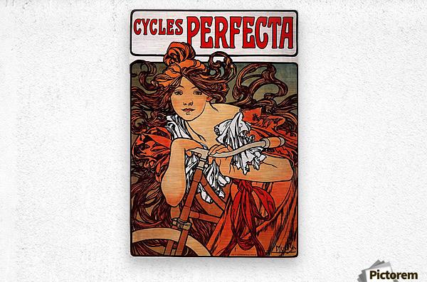 Cycles Perfecta by Alphonse Mucha  Metal print