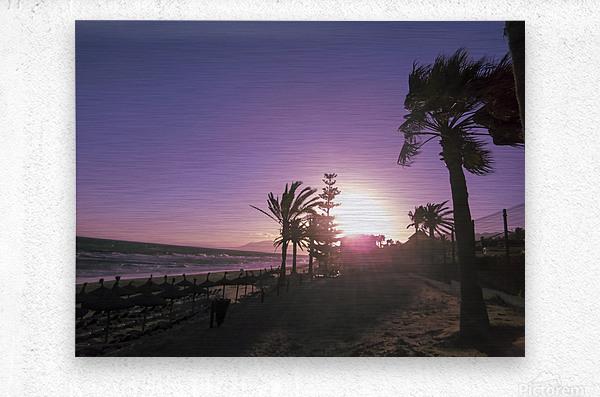 Sunset   Costa Del Sol   Andalusia Spain  Metal print