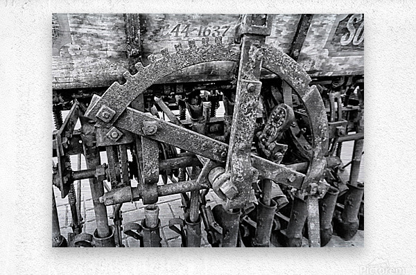 Antique Ploughing Machinery Black and White  Metal print