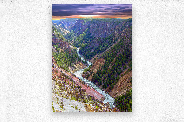 Grand Canyon of Yellowstone in the Waning Light of Day - Yellowstone National Park at Sunset  Metal print