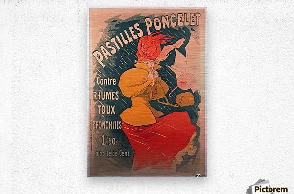 Original 1896 Lithograph Poster Pastilles Poncelet  Metal print