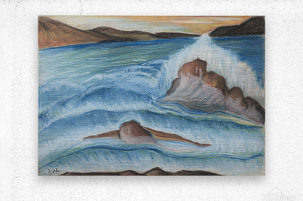 RA 002 - גל מתנפץ - crashing wave  Metal print