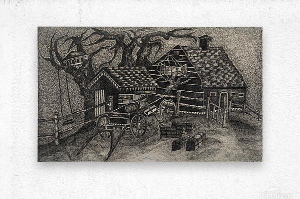 RA 013 - בית בכפר -  house in the village  Metal print