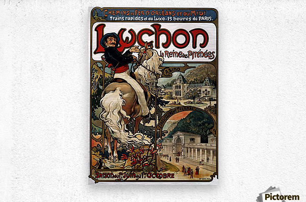 Luchon by Alphonse Mucha  Metal print