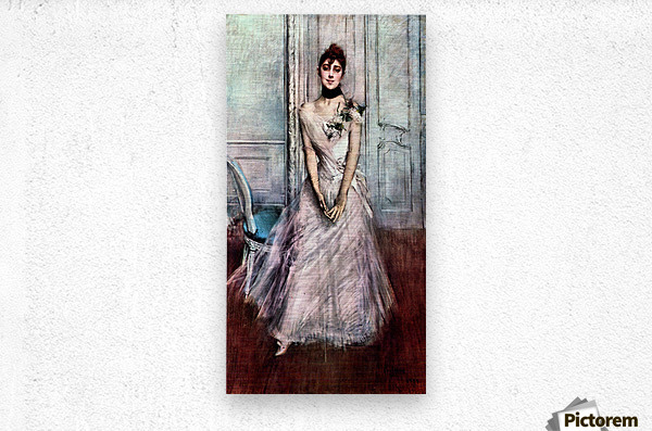 White pastel picture by Giovanni Boldini  Metal print
