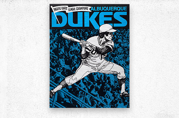 1973 Albuquerque Dukes Baseball  Poster  Metal print