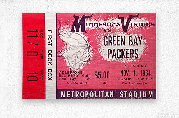 1964 Minnesota Vikings vs. Green Bay Packers Ticket Canvas  Metal print