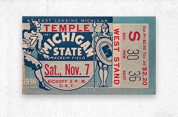 1936 Michigan State vs. Temple Football Ticket Art  Metal print