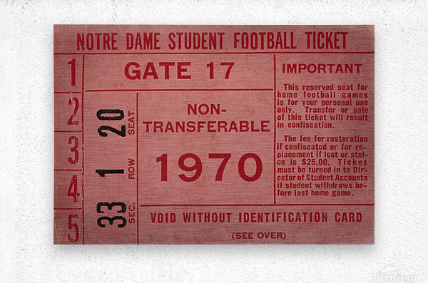 1970 Notre Dame Football Student Season Ticket Art  Metal print