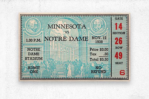 1938 Minnesota vs. Notre Dame Football Ticket Canvas  Metal print