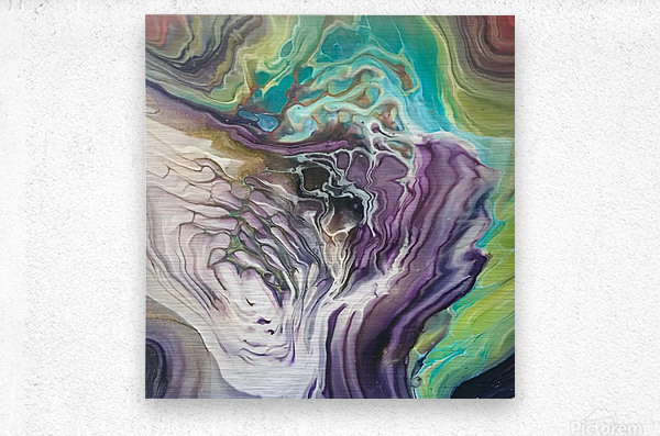 Peacock Marble Abstract  Metal print