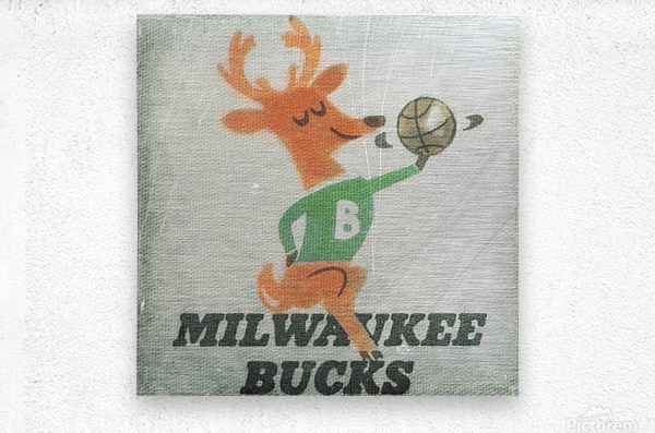 1974 Milwaukee Bucks Fleer Decal Art  Metal print