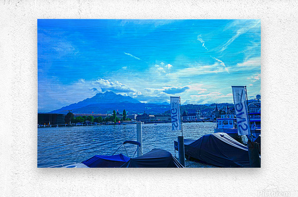 Blue Day Mount Pilatus on the Shores of Lake Lucerne   Central Swiss Alps  Metal print