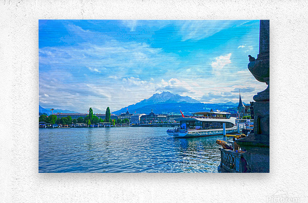 Mount Pilatus on the Shores of Lake Lucerne   Central Swiss Alps  Metal print