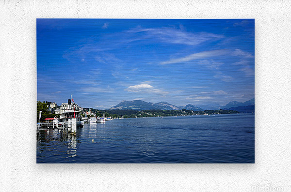 On the Shores of Lake Lucerne  Metal print