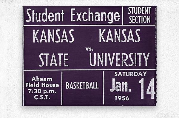 1956 Kansas State vs. Kansas Basketball Ticket Remix Art  Metal print