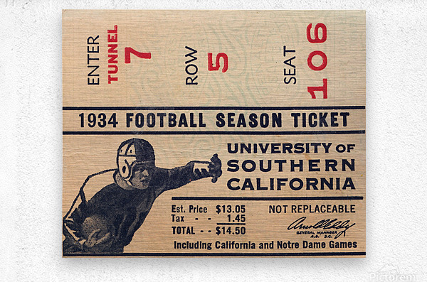 1934 USC Football Season Ticket   Metal print