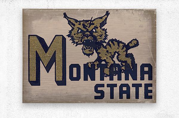 Vintage Montana State Bobcat Art  Metal print