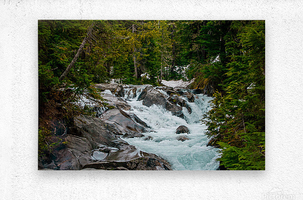 Wild Water in the Mountains  Metal print