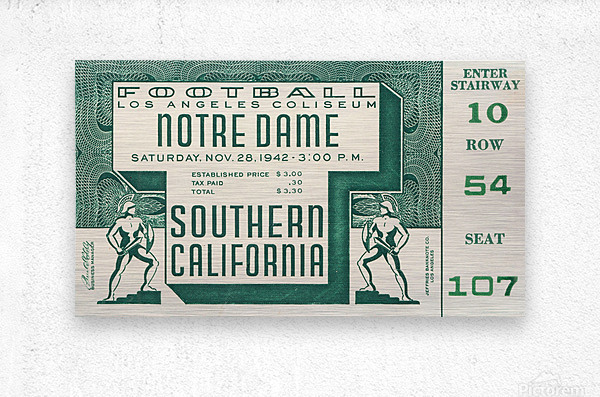 1942 USC vs. Notre Dame Football Ticket Canvas  Metal print
