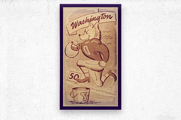 Vintage Washington Husky Football Cartoon  Metal print