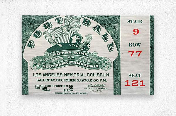 1936 Notre Dame vs. USC Football Ticket Art  Metal print