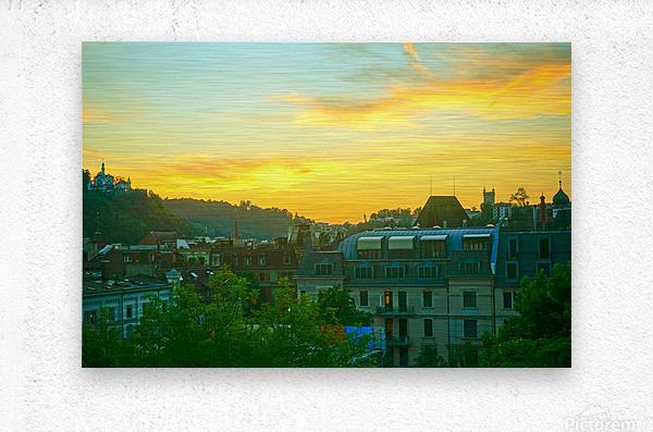 Sunset over Lucerne Switzerland  Metal print