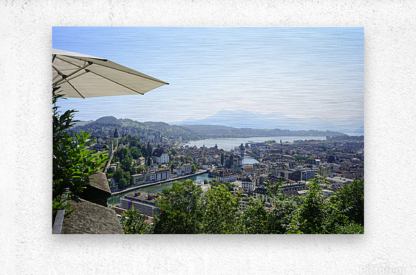 Stunning View to Lake Lucerne in the Central Swiss Alps  Metal print