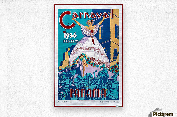 Carnaval de 1936 Panama Vintage Travel Poster  Metal print