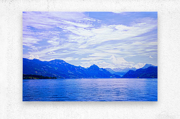 Beautiful Day The Alps and Lake Lucerne 1 of 2  Metal print