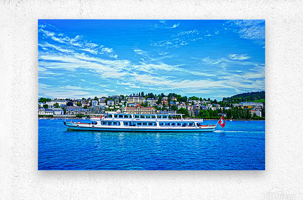 Cruise Boat On Lake Lucerne with City in Background in Switzerland  Metal print