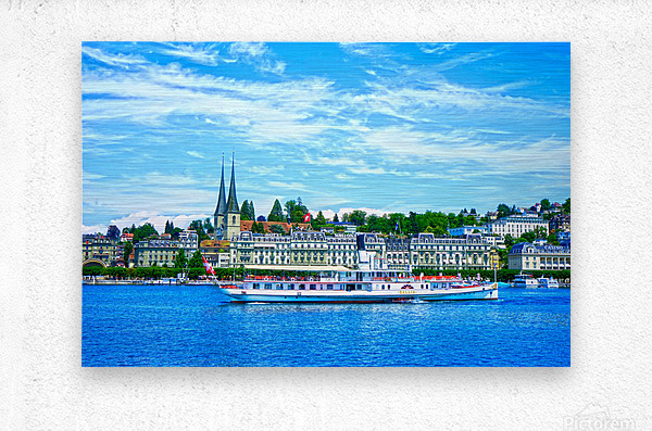 Old Town along the Coast in Lucerne Switzerland  Metal print