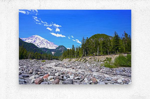 Spring Runoff Mount Rainier Pacific Northwest Washington State  Metal print