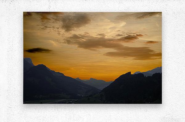 Sunset in the Saanen Valley in Switzerland  Metal print